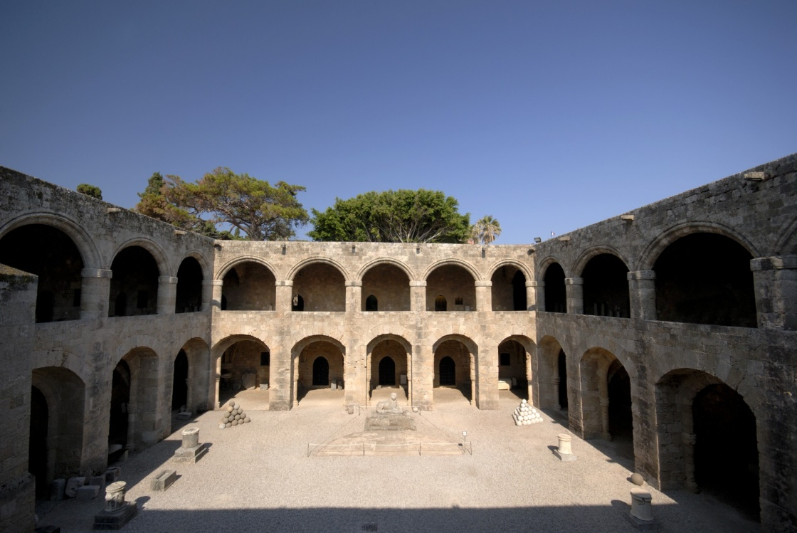Archaeological museum building at historic Rhodes island in Greece.